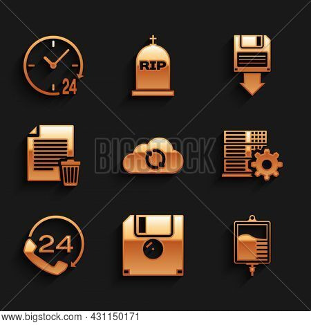 Set Cloud Sync Refresh, Floppy Disk, Iv Bag, Server Setting, Telephone 24 Hours Support And Delete F
