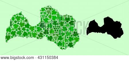 Vector Map Of Latvia. Collage Of Green Grapes, Wine Bottles. Map Of Latvia Collage Formed With Bottl