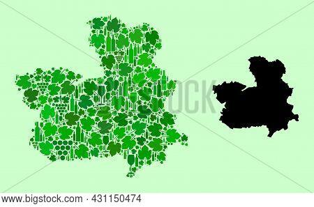 Vector Map Of Castile-la Mancha Province. Mosaic Of Green Grape Leaves, Wine Bottles. Map Of Castile