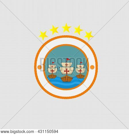 Happy Columbus Day America With Three Ship Design On Rope, Celebration Holiday Poster, Vector And Il