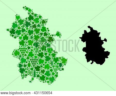 Vector Map Of Anhui Province. Mosaic Of Green Grape Leaves, Wine Bottles. Map Of Anhui Province Mosa