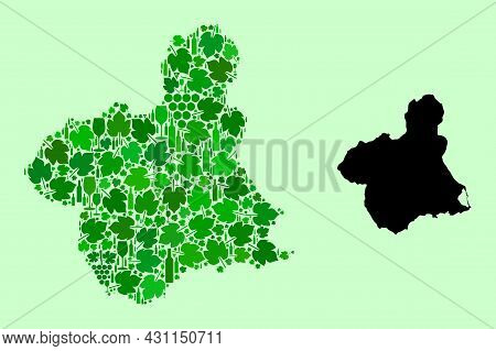 Vector Map Of Murcia Province. Mosaic Of Green Grapes, Wine Bottles. Map Of Murcia Province Mosaic C