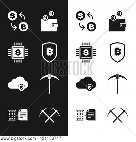 Set Shield With Bitcoin, Processor Chip Dollar, Cryptocurrency Exchange, Wallet, Cloud Mining And Pi