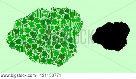 Vector Map Of Kauai Island. Mosaic Of Green Grape Leaves, Wine Bottles. Map Of Kauai Island Mosaic D