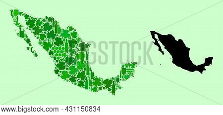 Vector Map Of Mexico. Combination Of Green Grapes, Wine Bottles. Map Of Mexico Collage Designed From