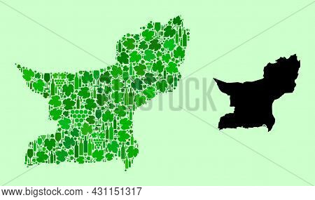 Vector Map Of Balochistan Province. Collage Of Green Grape Leaves, Wine Bottles. Map Of Balochistan
