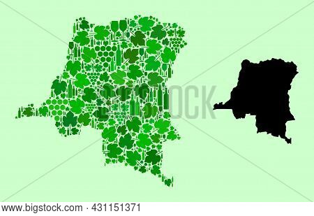 Vector Map Of Democratic Republic Of The Congo. Composition Of Green Grapes, Wine Bottles. Map Of De