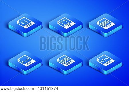 Set Php File Document, Css, Doc, Xml, Js And Txt Icon. Vector