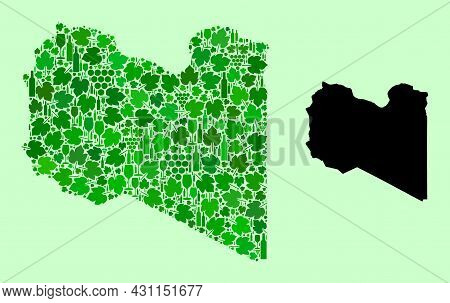 Vector Map Of Libya. Collage Of Green Grapes, Wine Bottles. Map Of Libya Collage Created With Bottle
