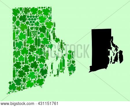 Vector Map Of Rhode Island State. Composition Of Green Grape Leaves, Wine Bottles. Map Of Rhode Isla