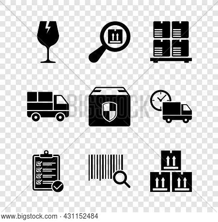 Set Fragile Broken Glass, Search Package, Cardboard Boxes On Pallet, Verification Of Delivery List,