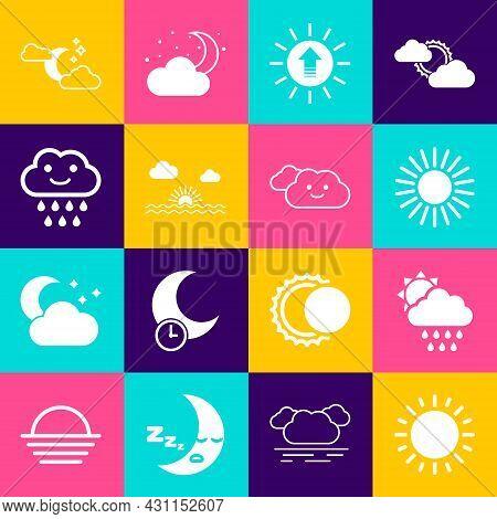 Set Sun, Cloud With Rain And Sun, Sunset, Moon Stars And Icon. Vector