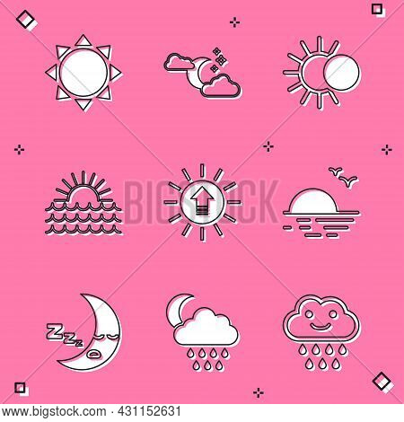 Set Sun, Cloud With Moon And Stars, Eclipse Of The Sun, Sunset, Moon Icon And Rain Icon. Vector