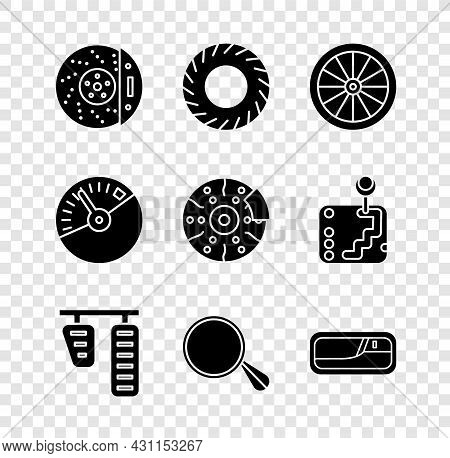 Set Car Brake Disk With Caliper, Tire, Wheel, Gas And Pedals, Mirror, Door Handle, Speedometer And I
