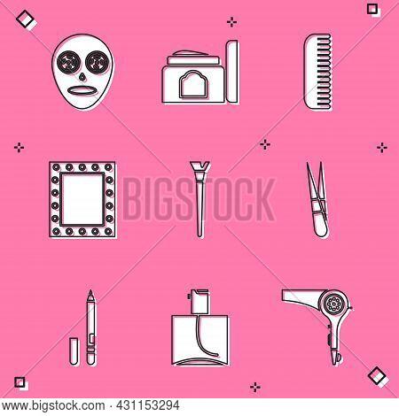 Set Facial Cosmetic Mask, Cream Tube, Hairbrush, Makeup Mirror With Lights, Eyebrow Tweezers, Eyelin