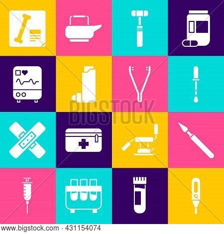 Set Medical Digital Thermometer, Surgery Scalpel, Pipette, Neurology Reflex Hammer, Inhaler, Monitor
