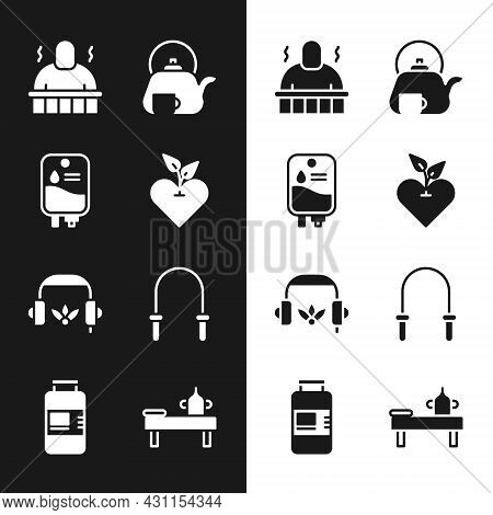 Set Heart, Iv Bag, Sauna And Spa Procedures, Teapot With Cup, Headphones For Meditation, Jump Rope,