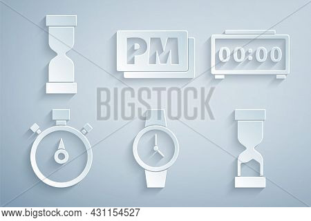 Set Wrist Watch, Digital Alarm Clock, Stopwatch, Old Hourglass, Clock Pm And Icon. Vector