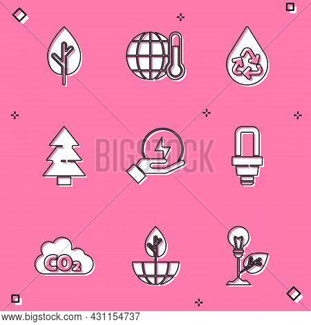 Set Tree, Global Warming, Recycle Clean Aqua, Christmas Tree, Lightning Bolt, Led Light Bulb, Co2 Em