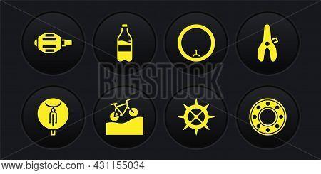 Set Bicycle, Seat, Mountain Bicycle, Sprocket Crank, Wheel, Sport Bottle With Water, Ball Bearing An