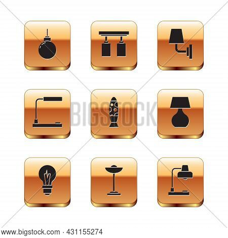 Set Lamp Hanging, Light Bulb, Floor Lamp, Table, Wall Sconce, And Led Track Lights And Lamps Icon. V