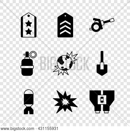 Set Military Rank, Chevron, Howitzer, Rocket Launcher, Bomb Explosion, Binoculars, Hand Grenade And