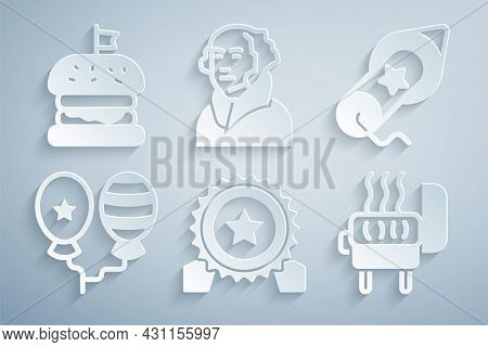 Set Medal With Star, Firework, Balloons, Barbecue Grill, George Washington And Burger Icon. Vector