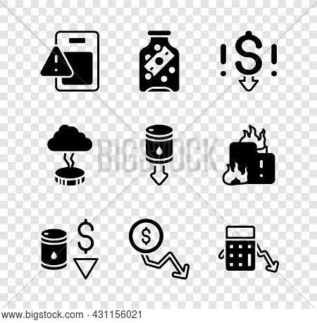Set Global Economic Crisis, Glass Money Jar With Coin, Dollar Rate Decrease, Drop Crude Oil Price, C