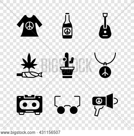 Set Peace Dress Print Stamp, Beer Bottle, Guitar, Retro Audio Cassette Tape, Glasses, Megaphone, Mar