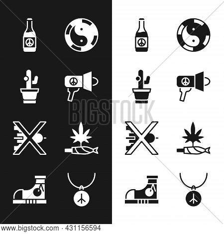 Set Megaphone, Cactus, Beer Bottle, Yin Yang Symbol, No War, Marijuana Joint, Spliff, Necklace With