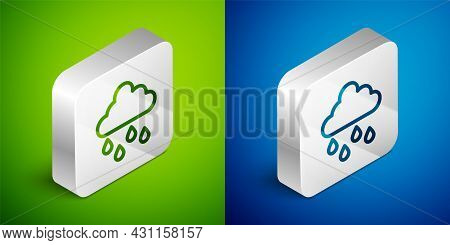 Isometric Line Cloud With Rain Icon Isolated On Green And Blue Background. Rain Cloud Precipitation
