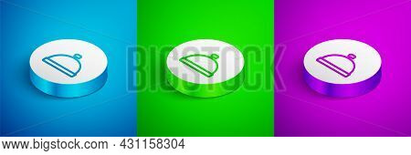 Isometric Line Covered With A Tray Of Food Icon Isolated On Blue, Green And Purple Background. Tray