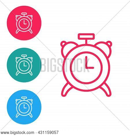 Red Line Alarm Clock Icon Isolated On White Background. Wake Up, Get Up Concept. Time Sign. Set Icon