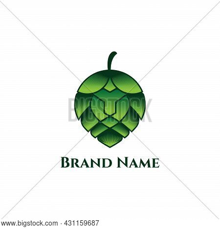 Lion Brewerly Hop Cone Logo Template Eps