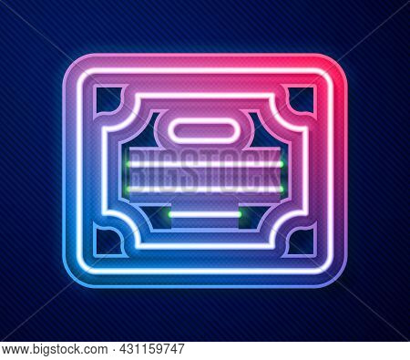 Glowing Neon Line Certificate Template Icon Isolated On Blue Background. Achievement, Award, Degree,
