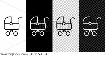 Set Line Baby Stroller Icon Isolated On Black And White, Transparent Background. Baby Carriage, Bugg