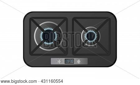 Black Kitchen Stove With Top View. Included Gas Stove. Modern Oven For The Kitchen In A Realistic St