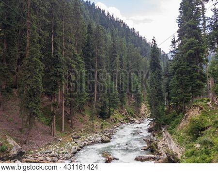 Bluewater Kalam Valley In Swat Pakistan Closeup View