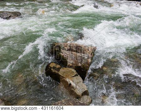 River Swat In Kalam Valley Pakistan Closeup View