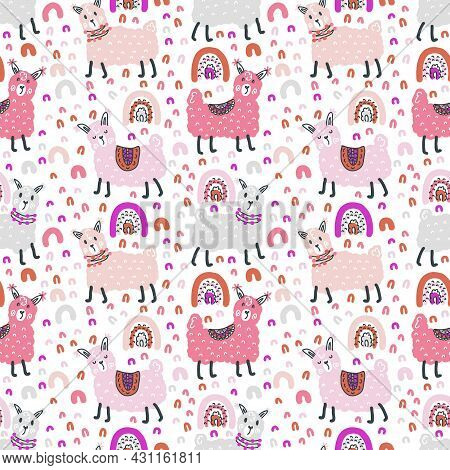 Free Hand Drawing Seamless Pattern Of Lamas And Rainbows. Perfect For Scrapbooking, Poster, Textile