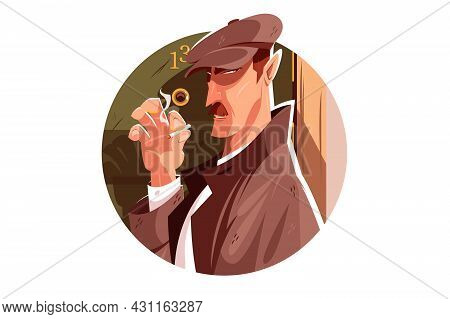 Secret Spy Man Vector Illustration. Clever Person Smoking Cigarette And Follows Someone Flat Style.