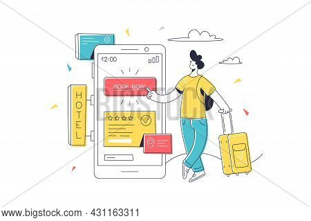 Character Make Hotel Reservation Online Vector Illustration. Find Place For Living Flat Style. Book