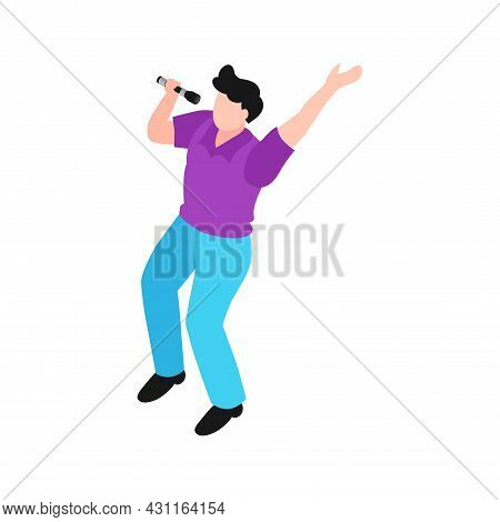 Karaoke Isometric Icon With Male Character Singing With Microphone 3d Vector Illustration