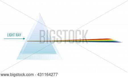 Light Dispersion Through Glass Prism Realistic Vector Illustration
