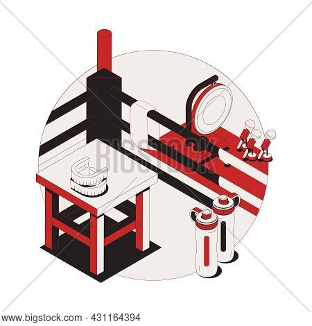 Isometric Composition With Ring And Various Equipment For Boxing Training 3d Vector Illustration