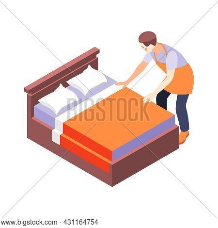 House Husband Making Bed Isometric Vector Illustration