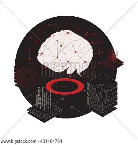 Isometric Cyber Attack 3d Composition With Images Of Brain Server Lock Biometric Code Vector Illustr