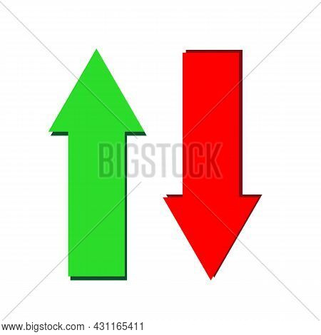 Arrow Up And Down Icon On White Background. Set Arrows Sign. Two Arrows Symbol. Flat Style.