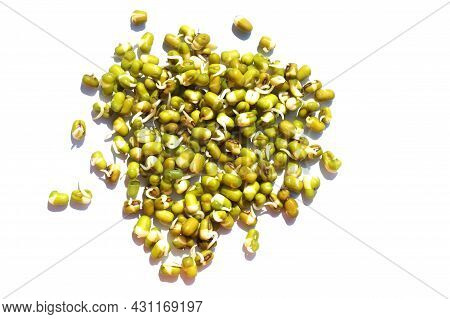 Mung Beans Sprouts Isolated On White Background.