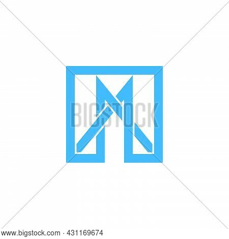 Letter Mn Simple Overlapping Line Logo Vector